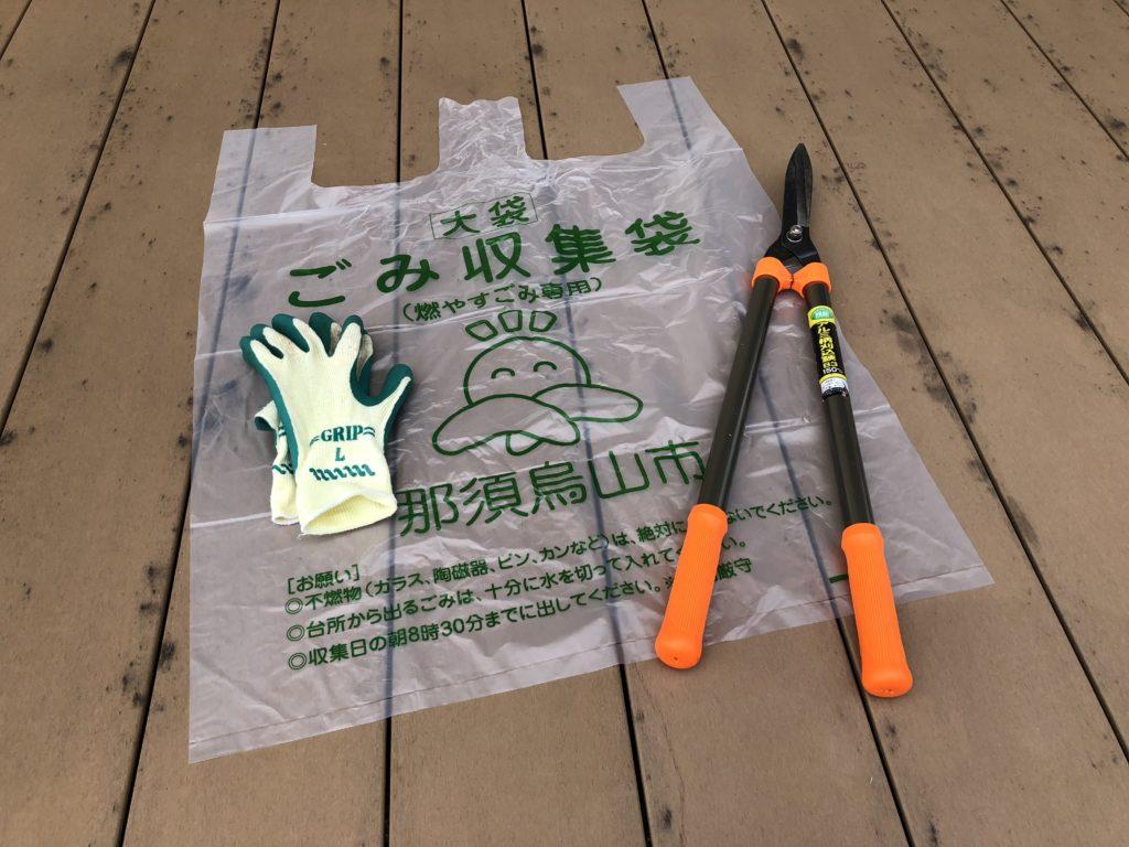 カシワバアジサイの剪定の準備と道具