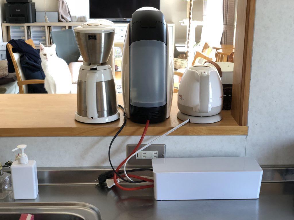 台所の家電のコードを保護するORICO ケーブルボックス