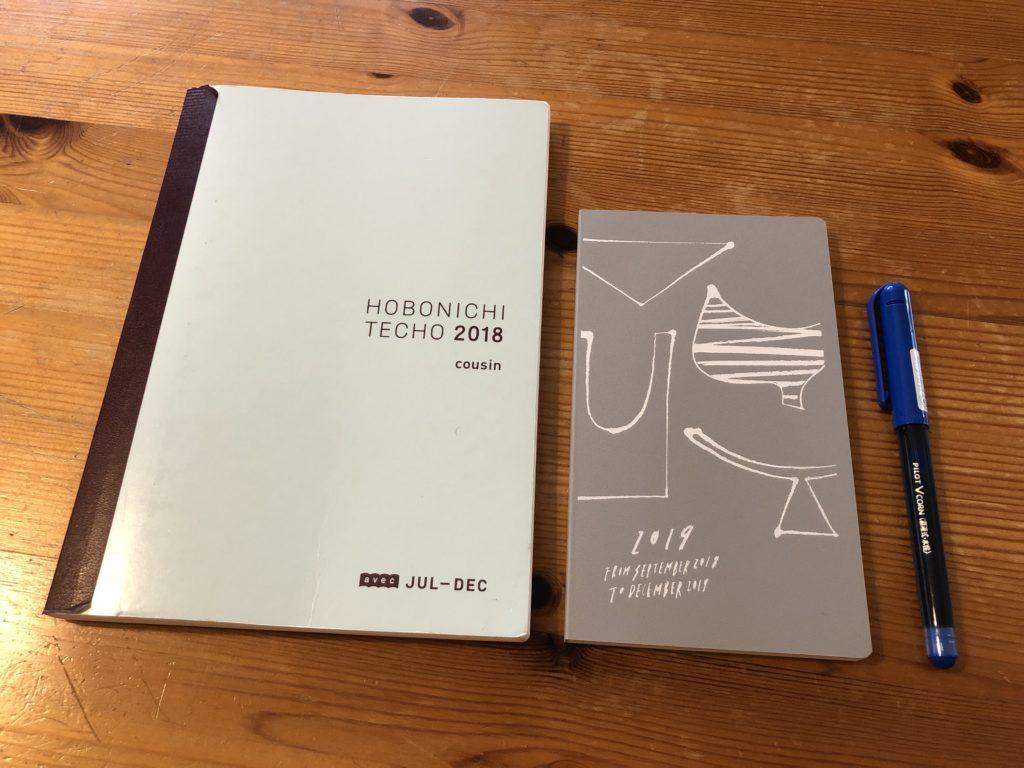 A5サイズのほぼ日手帳とハンディサイズのクラシ手帳2019