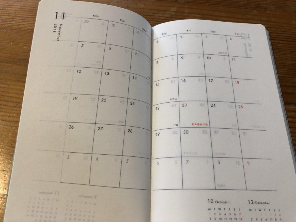クラシ手帳2019のマンスリーページ
