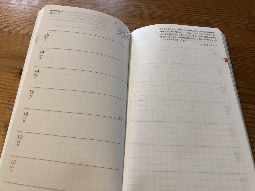 クラシ手帳2019のウィークリーページ
